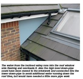Discharging water onto pitched roofs